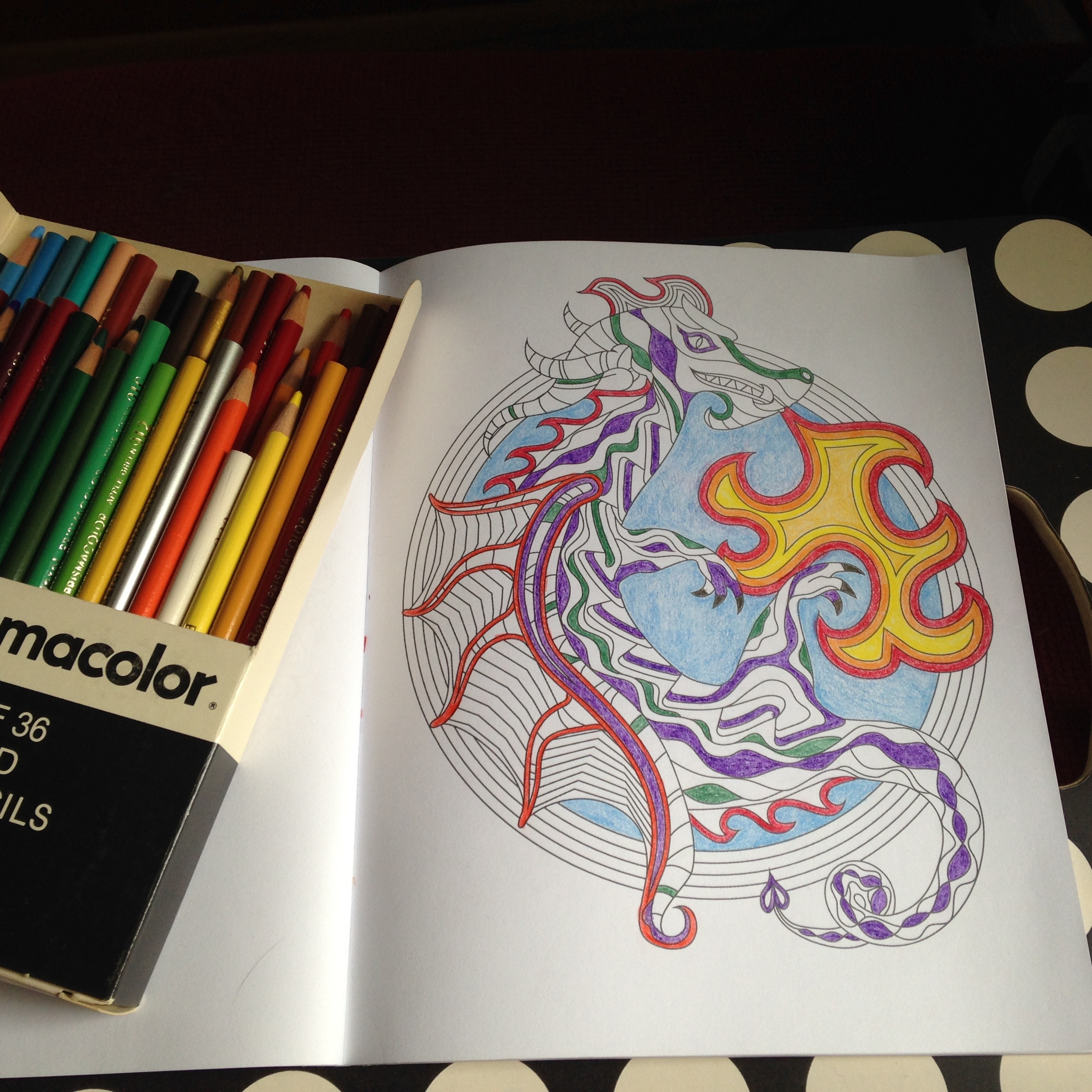 Adult Coloring Book Dragon In Progress